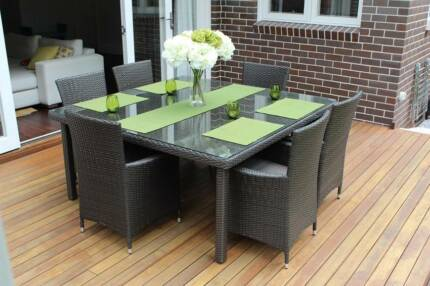 WICKER DINING SETTING,6 SEATS,STUNNING EUROPEAN STYLING,B/NEW Rocklea Brisbane South West Preview