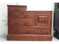 Unusual Edwardian Mahogany Bachelor's Dresser Chest Of Four Drawers And Cupboard Compactum