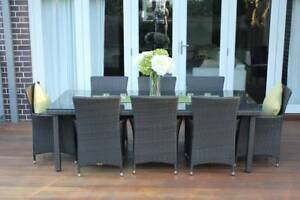 WICKER DINING SETTING,8 SEATS,STUNNING EUROPEAN STYLING,BRAND NEW