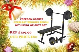 Everlast Folding Bench With 50kg Weights 2 DUMBELLS 1 BARBELL CHRISTAMS SPECIAL RRP 129.99 OUR £80