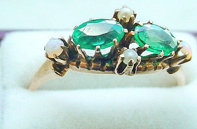 - VINTAGE VICTORIAN NATURAL OPAL ,EMERALD, SEED PEARL RING 14 KT