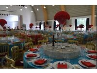 Luxury Wedding Decorations with Free Welcome Drink, Stage or Throne Chair Beaded Charger Plate