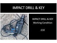 IMPACT DRILL & KEY - working order