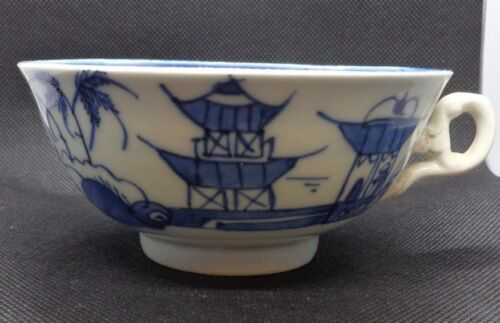 Vintage Chinese 19th Century Export Blue & White Ceramic Tea Cup