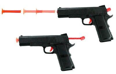 Pfeilpistole mit 3 Saugnapfpfeilen - schwarz-rot - Kostüm Fasching - Pfeile Kostüm