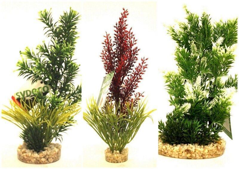 3 er Set Wasserpflanze Plastik Plant Aquarium Kies Fußunterteil TOP Qualität /
