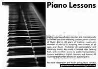 Piano lessons -all levels- highly experienced teacher/performer