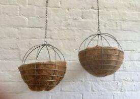 Spherical metal hanging planters / hanging baskets