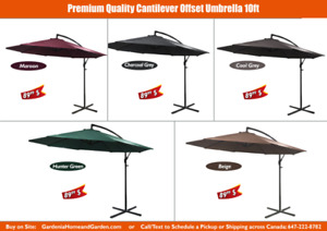 Patio Umbrella Premium Quality - 9 ft, 10 ft, 11 ft, Cantilever