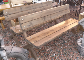 Large heavy duty wooden park garden bench