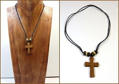 Halskette Kette Kreuz Holz Baumwolle Verstellbar Damen Herren Handarbeit Neu
