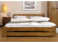 Wooden Bed 120x190cm 4FT Small Double Pinewood Oak colour with slats