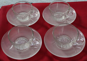 4 Expresso Cup and Saucer Sets, 8 Pieces, Mint!
