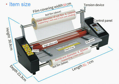 Electric A3 12.8 High Speed Hot Cold Roll Laminator Machine Office Digital 110v