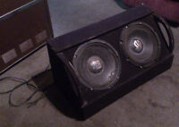 2 12 inch subs, box, amp and cords