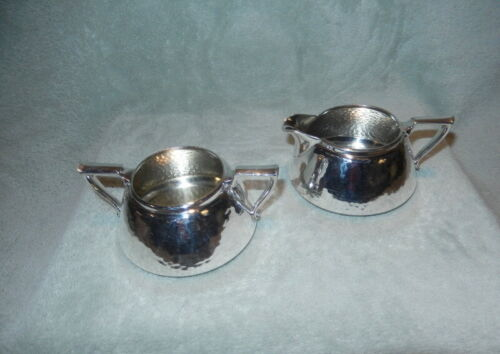 Forbes Silver Co. Retro Art Deco Hammered Silverplate Cream & Sugar Set
