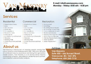 Top Quality & Best Price Stone/Brick Masonry Services Downtown-West End Greater Vancouver Area image 1