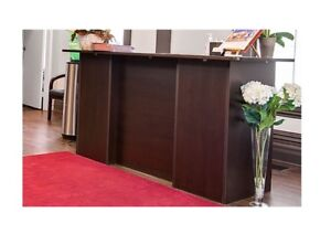 90% new office furniture's. Decks, boardroom table, reception de