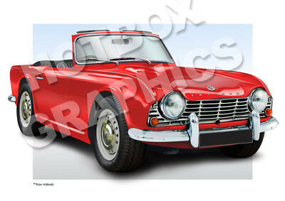 TRIUMPH TR4 TR5 TR6 PRINT - PERSONALISED ILLUSTRATION OF YOUR CAR