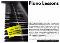 Daytime Piano lessons in south-west Edmonton