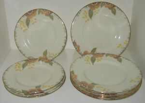 Set of 10 Art Deco Royal Doulton side plates NERISSA pattern