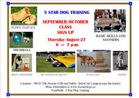 SEPTEMBER DOG TRAINING CLASSES