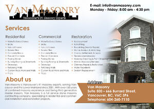 Stone Installation and Masonry Services - Top Quality and Price Downtown-West End Greater Vancouver Area image 1