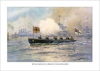 Kaiser Wilhelm II begibt sich an Bord der Hohenzollern DEUTSCHE FLOTTE STÖWER 77