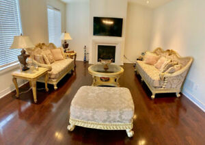 3 PIECE SOFA SET WITH COFFEE GLASS TABLE AND 2 END TABLES