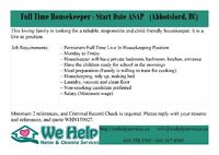 Full Time Live-in Housekeeper Needed - Start Date ASAP