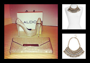 Golden Clutch with Statement Necklace