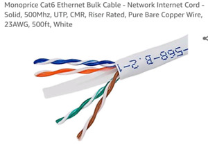 MonoPrice CAT6 ethernet cable $50ft-->$15 custom lengths too