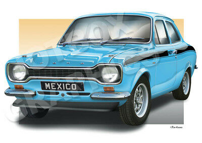 FORD ESCORT Mk1 PRINT - PERSONALISED ILLUSTRATION OF YOUR CAR