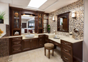 Walnut Glazed solid wood maple Vanity and Kitchen on Clarence !