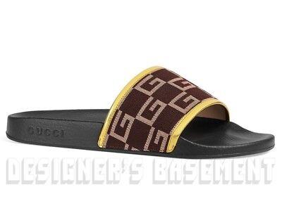 be939571a16 GUCCI mens 10G  brown GG CUBE Jersey PURSUIT slides FLIP-FLOPS shoes NIB  Authent