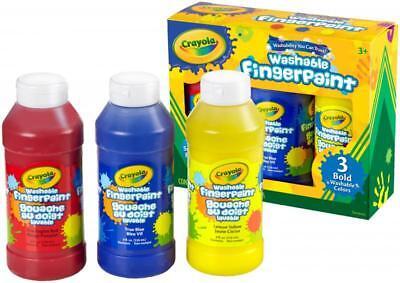 Crayola Washable Fingerpaint Bold Colors Set - 8 Oz - 3 / Set - True Blue, Lemon