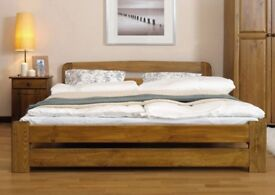Wooden Bed Frame 135x190 4ft6 Double Size Oak Solid Pine Wood With Slats Drawer