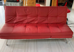 Futon Red - pullout  faux leather