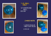 "LARGE PET EXERCISE BALL 12""/ RUNNING WHEELS/ HIDE HUTS"