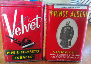 2 Vintage PRINCE ALBERT Crimp Cut + Velvet Pocket Tobacco Tins