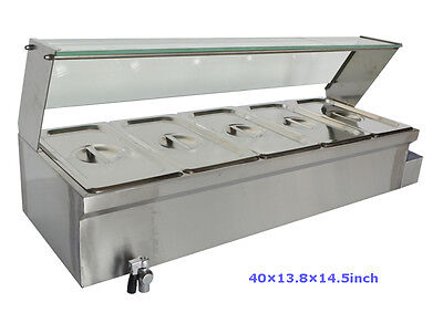 5-pot Bain-marie Food Warmer110v1500w513pans 6in Deep Pan Large Capacity