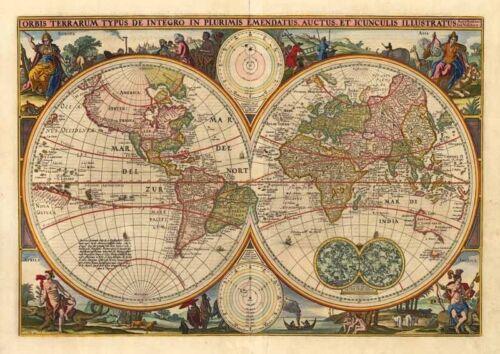 Old World Map - Vintage Art Print Poster - A1 A2 A3 A4 A5