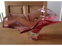 Vintage Retro Hand Blown Pink Art Glass Bowl