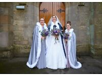 Wedding Capes in Silvery/grey with Faux Fur Trim available with faux fur hand muffs