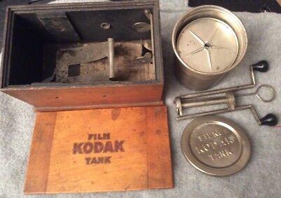 Vintage Eastman Kodak Wooden Developing Tank & Alloy Tank