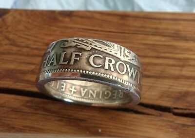 1947/67 British Half Crown Handmade Coin Ring a slice of English historyN to Z