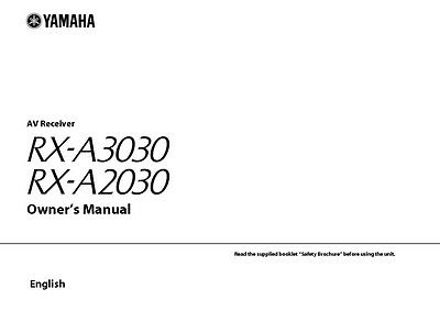 Yamaha RX-A3030 RX-A2030 Receiver Owners Manual