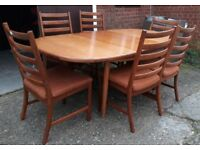 Vintage Solid Teak Extending Dining Table With Six Ladder-Back Chairs