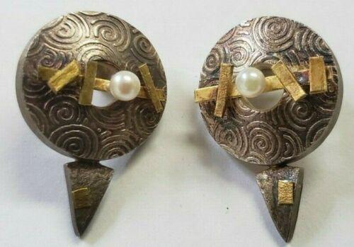Anne Besse Shepherd Vintage Sterling Silver w 22k Yellow Gold and Pearl Earrings