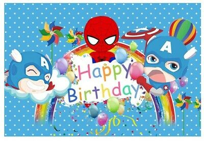 BABY SPIDERMAN SPIDER WEB BLUE PERSONALISED BIRTHDAY PARTY BANNER BACKDROP
